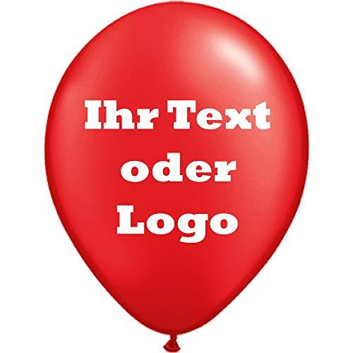 partydiscount24 50 Luftballons Bedrucken Kleinauflage - Preis für 50 Stück 1-seitig/1-farbig (Ballonfarbe - Rot, Druckfarbe - Schwarz)