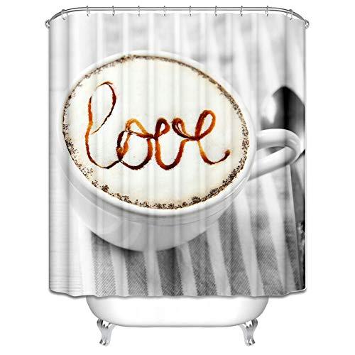 MaxAst Duschvorhang Bunt Badewanne Vorhang Cappuccino mit Love Duschvorhang Anti-Schimmel Duschvorhang Polyester Duschvorhang 120x180 cm