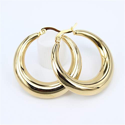 TFGUOqun Moda Pendientes de aro Grande exquisitos Suaves para Mujeres Joyas de Acero Inoxidable de Fiesta de Boda para Mujer para Mujeres, (Metal Color : Diameter 35MM)