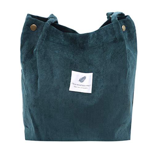 Sevenfly Corduroy Umhängetaschen Umwelt Einkaufstasche Tote Paket Crossbody Pouch Geldbörsen Casual Handtasche für Frauen, Dunkelgrün