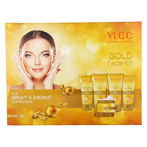 VLCC Gold Facial Kit - For Bright & Radiant Complexion - Paraben Free