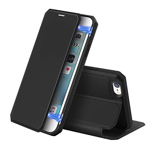 """DUX DUCIS Cover per iPhone 6 / 6S - 4.7"""", Pelle Premium Magnetica Flip Custodia Compatible per Apple iPhone 6 / 6S (Nero)"""