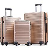 Flieks Luggage Sets 3 Piece Spinner Suitcase Lightweight 20 24 28 inch (Champagne)