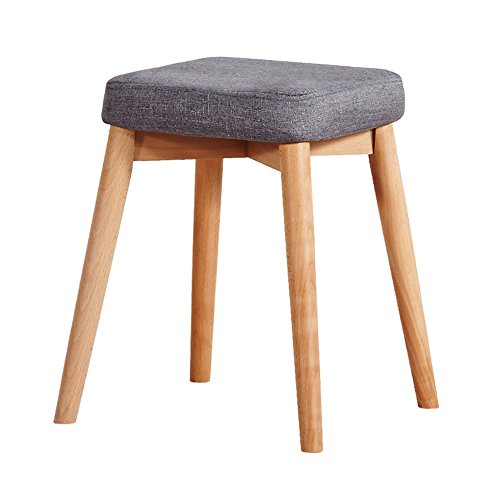 FEI Confortable Tabouret de bar petit déjeuner 45cm haut | Siège de cuisine en bois approprié pour des tables de barre de petit déjeuner Solide et durable (Couleur : Gris)