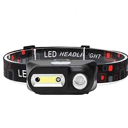 JJYGYTG Linterna frontal recargable con sensor LED con zoom, linterna de pesca para exteriores, súper brillante, resistente al agua, para acampar, caza (tipo de enchufe: A)