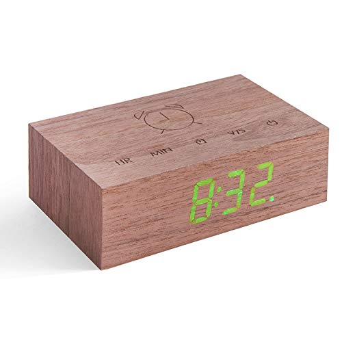 Gingko Flip Click Clock LED Alarm Clock Sound Activated with New Flip Technology, Rechargeable with Laser Engraved Touch Controls, Walnut