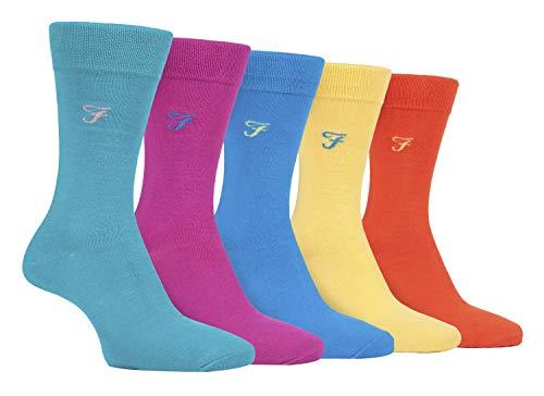 FARAH® - 5er Pack Herren Bambus Socken | Uni Bunt & Gestreift Socken (helle 1, 39-45)