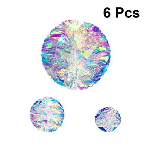 VOSAREA 6Pcs De Nido De Abeja Bolas De Partido Pom Colorido Gradiente Película Artesanía Linterna Creativa Bola Colgante Pompón