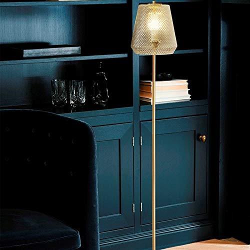 Lámpara de pie Lámpara de suelo nórdica sala de estar dormitorio noche lámpara de noche americana retro vidrio simple moderno (Lampshade Color : Black)