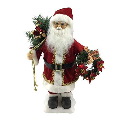Fraser Hill Farm 24-in. Santa Claus Figurine with Lighted Wreath, Toy Sack, Animation, and Music (8 Songs) - Christmas Decoration, FHFSC024-2RED4, red