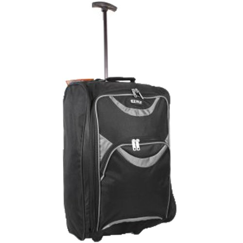 New Look EZ FLY Flight Approved Feather Light Weight Cabin Carry On Hand Luggage Roller Suitcase Bag Wheeled Trolley Perect for Easyjet Ryanair Thomas Cook Handbags (One Size, Black/Grey)