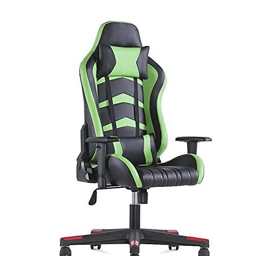 HXJU Silla de juegos, silla de oficina, ergonómica para ordenador, silla de carreras reclinable, silla de juegos, para adultos, hombres, mujeres, adolescentes, silla de escritorio, verde