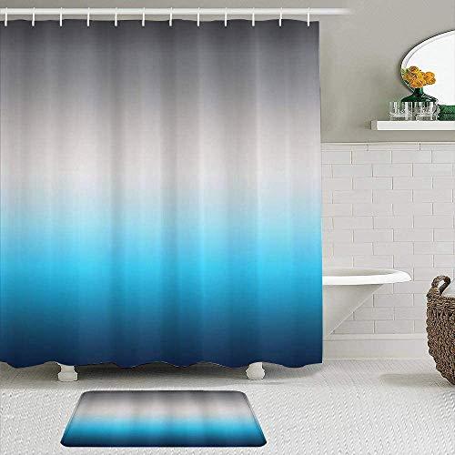 EricauBird Cortina de ducha, diseño abstracto de cambio de color con adornos de tonos azules y grises, diseño de cielo temático, cortinas de baño, decoración de baño, 182 x 182 cm