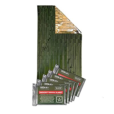 Titan Two-Sided Emergency Mylar Survival Blankets, 5-Pack