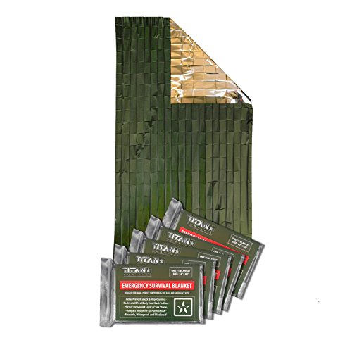 Titan Two-Sided Mylar Emergency Survival Space Blankets, 5-Pack | Olive-Drab (27-000001)