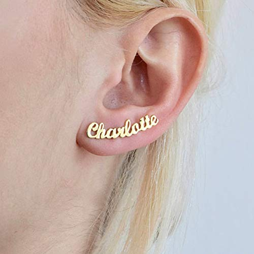 SMXGF 1 Paar Gepersonaliseerde Custom Name oorbellen for vrouwen pas Aanvankelijk aan Cursive Naamplaat Stud Earring Gift For Best Friend Girls (Color : Gold)