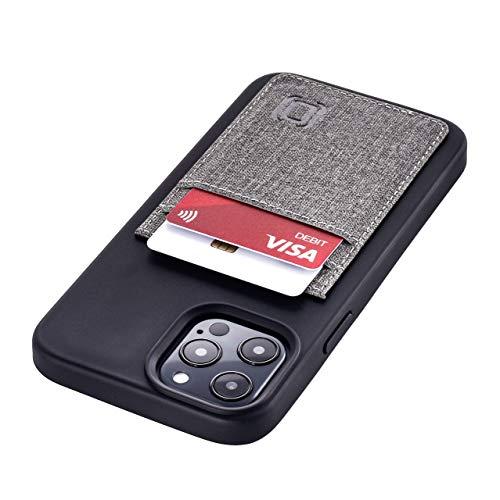 Dockem Handyhülle mit 2X Kartenfach für iPhone 12 Pro Max: TPU mit Canvas-Kunstleder - Schlanke Wallet Handytasche mit Integrierter Metallplatte für Magnet-Halterung (6.7