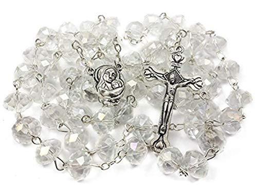 Tienda de Nazaret Rosario católico Collar de cuentas de cristal blanc