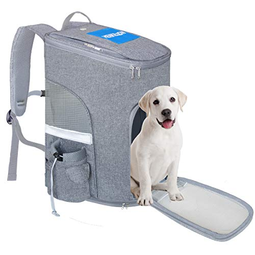 Henkelion Cat Carrier Dog Carrier Backpack Front Pack with Cup Holder, Pet Carrier Back Pack for Small Medium Cat Puppy Doggie, Dog Body Carrying Bag Travel Knapsack - Grey