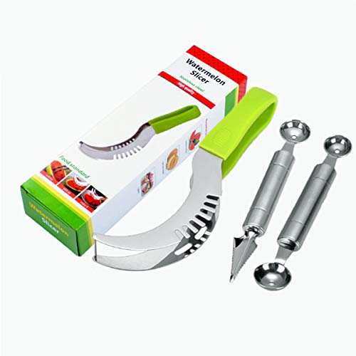 Watermelon Slicer Cutter, Melon Baller Scoop,Fruit Carving Tools Knife, Stainless Steel Fruit Corer Cutter Kit for Vegetable Cantaloupe Melon Fruit Slicer