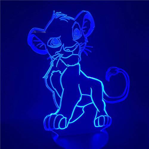 3D Illusion Lampe Led Veilleuse Cartoon Le Roi Lion Simba Changement De Couleur Nouveauté Chambre Chevet Pour Cadeau De Noël Maison