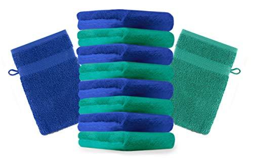 Betz Lot de 10 Gants de Toilette Taille 16x21 cm 100% Coton Premium Couleur Vert émeraude, Bleu Royal