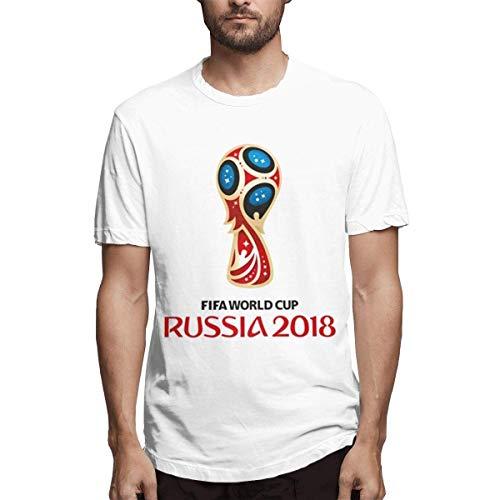 Camiseta Blanca de diseño de la Copa Mundial de Rusia 2018 cómoda para Hombres,S