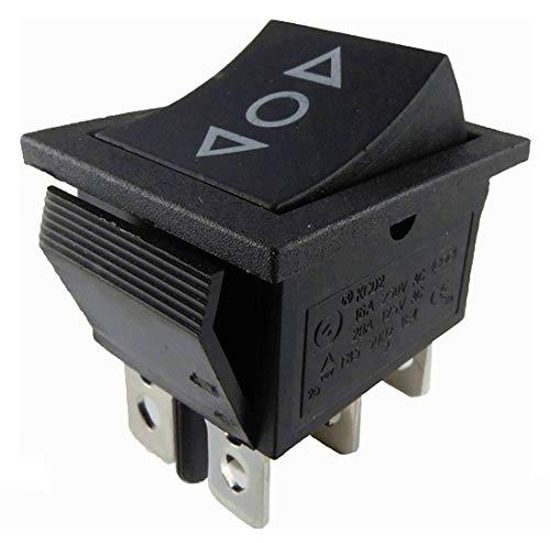 Interruptor basculante + pulsador (interruptor y botón) en un interruptor basculante de 250 V (6 V, 9 V, 12 V, 24 V, 125 V) de 6 pines ON/OFF/ON, montaje aprox. 29 x 21,6 mm (1)