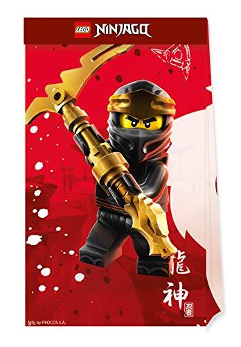 Procos - Bolsas de papel Compostable Lego Ninjago - 4 piezas, multicolor