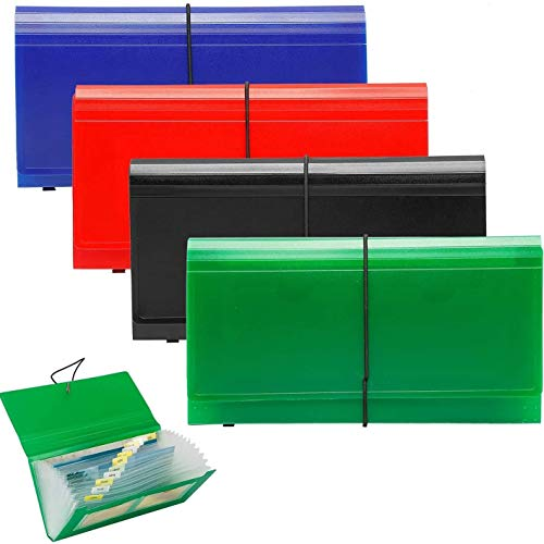 SEEKIND Expanding File Folder 4 Pack, 10.4' 5.5' Receipt Organizer Folder Accordion Folder Document with 13 Pocket for Office,Cards,Tickets-Water Resis