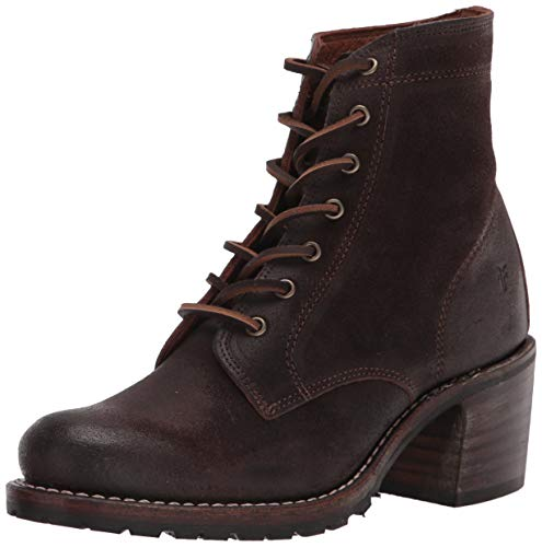Frye womens Sabrina 6g Lace Up Ankle Boot, Dark Brown, 8.5 US