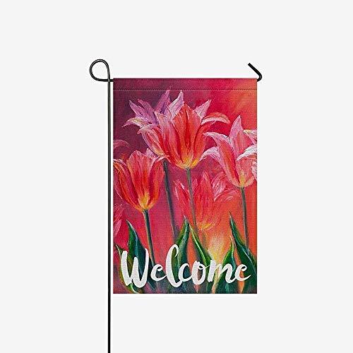 Seizoensgebonden Tuin Vlag Banner, Home Yard Decor Vlag,Huis Decoratieve Vlaggen,Tulpen Bloem Schilderij Outdoor Vlaggen Voor Feest, Jubileum, Bruiloft