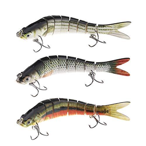 Ototec - Señuelo de pesca (3 unidades, 5,5 pulgadas, 8 segmentos, juego de agua dulce, para pesca duro, pesca