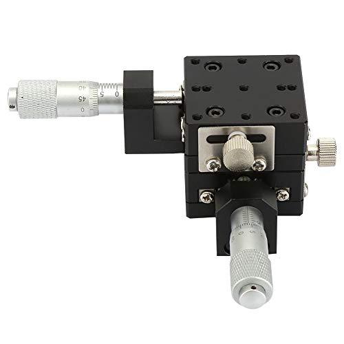 Etapa lineal XY, Keenso Etapa de traducción lineal de precisión manual de micrómetro SEMY40-AC, Guía de rodillos transversales para cojinetes de deslizamiento, Eje XY, 40x40x40mm
