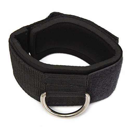 TOOGOO Zapato con cierre de anillo en D Accesorio Multi Gym cable de pierna del muslo Polea del levantamiento de pesas Negro