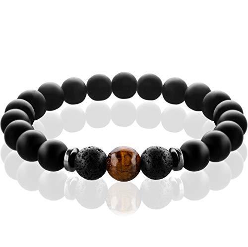 FABACH™ Chakra Perlenarmband mit 8mm Tigerauge-Perle, Lavastein und Onyx-Naturstein (schwarz) - Yoga Armband aus Heilsteinen - Energiearmband für Damen und Herren