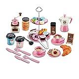 Kingdommax Juego de comida para niños, 38 piezas de cafetera Set educativo de aprendizaje de cocina juego de juguete para 3 4 5 años niñas y niños niños (rosa)
