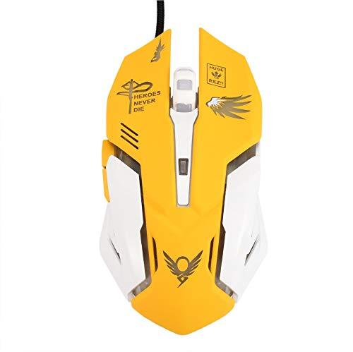 Preisvergleich Produktbild Gaming-Maus,  optische Gaming-Maus,  Hintergrundbeleuchtung,  ergonomisch,  USB,  kabelgebunden,  mit 2400 DPI und 6 Tasten,  4 Aufnahmen für PC & Mac E-Sports Gamer (Mercy)