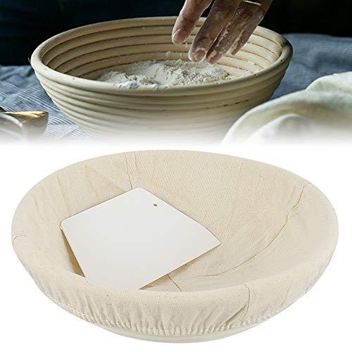 Gärkörbchen Set 25cm Brotgärkor mit Teigschaber Handgemachte Gärkorb Rund aus Natürlichem Peddigrohr mit Leineneinsatz für Backkuchen Brotteig