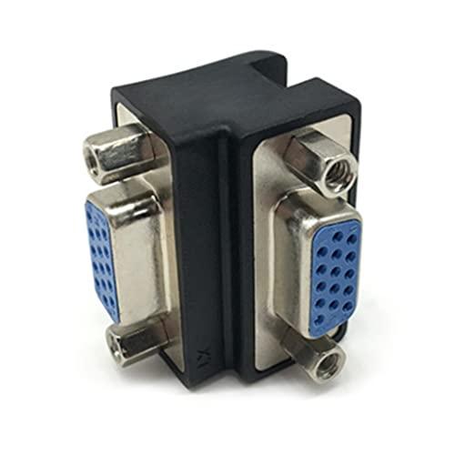 RG-FA Nero VGA 15 femmina a 15 femmina adattatore 90 ° ampiamente utilizzato in proiettori LCD e TV PVC+metallo più conveniente