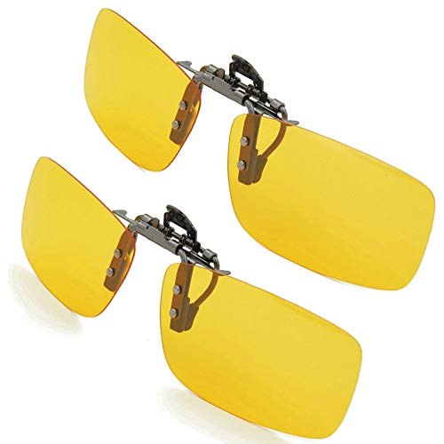Clip-on Sunglasses Splaks Unisex Polarized Frameless Rectangle Lens 2-Yellow