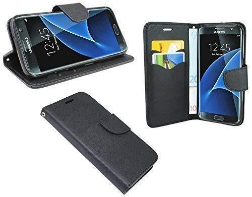 Preisvergleich Produktbild ENERGMiX Buchtasche kompatibel mit Samsung Galaxy S7 Edge G935F Hülle Case Tasche Wallet BookStyle Zubehör in Schwarz