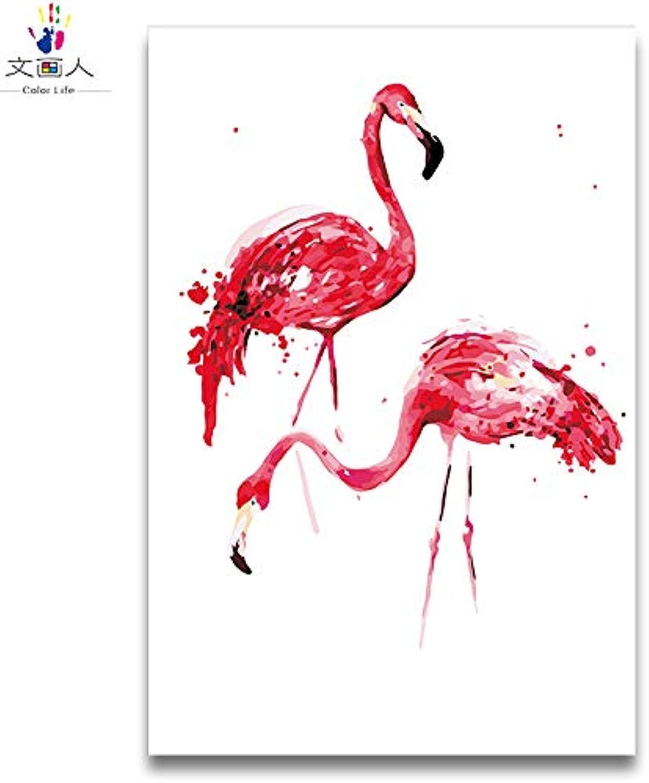 clásico atemporal KYKDY Flamingo rojo pintura al óleo de de de bricolaje dibujar dibujos para Colorar por números Animales con paquete de kits para mujeres pintar con marco sobre lienzo, 6084,80x100 sin marco  80% de descuento