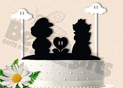 Mario and Peach Gamer Birthday Anniversary Wedding Cake Topper