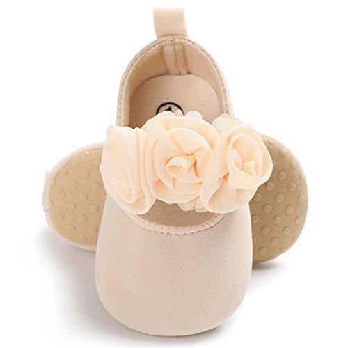 BENHERO Baby Infant Girls Soft Sole Floral Princess Mary Jane Shoes Prewalker Wedding Dress Shoes (12-18 Months Infant)  B/Beige