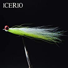 Fishing Lures - 10PCS #4 Saltwater Fly Fishing Flies (Trout,Bonefish,Redfish) Clouser Deep Minnow Fishing Lures Chartreuse/White