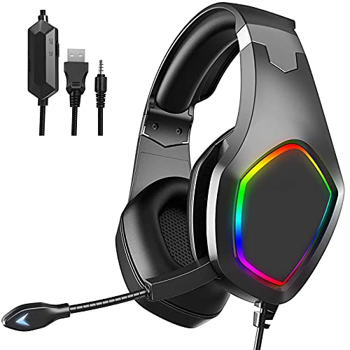 Over-Ear Gaming Headphones, eirix Computer Headset with Volume Control LED Light Noise Canceling Mic for PS4, PS5, Nintendo, Xbox One, PC, Laptop