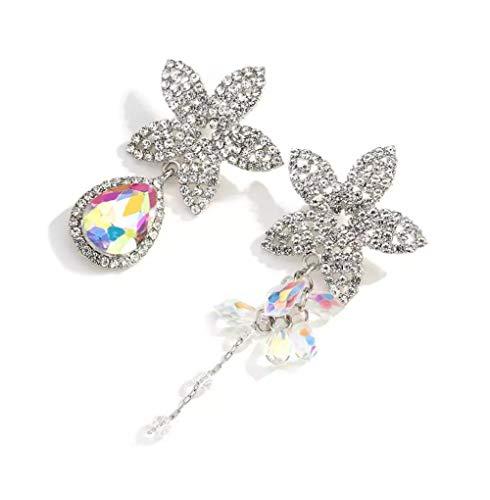MXHJD Asymmetry Design Full Rhinestone Crystal Flower Drop Earrings for Women Exaggerated Big Bridal Long Earrings