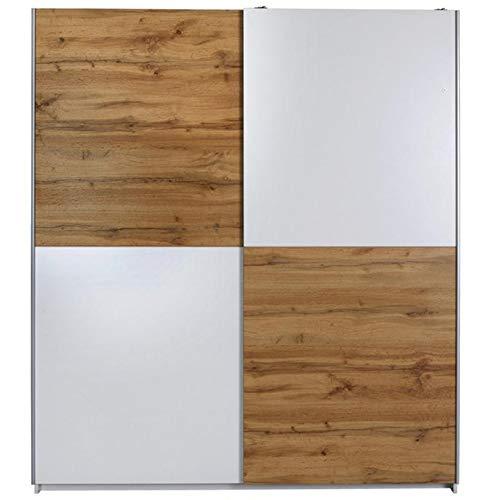 AVANTI TRENDSTORE - Victoria - Armadio con Ante scorrevoli in Legno Laminato, Molto spazioso, Disponibile in Diversi Colori. Dimensioni: Lap 170x196x60 cm (Marrone - Bianco)