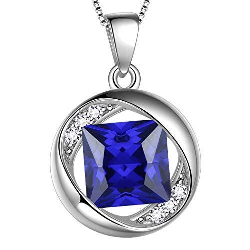 AuroraTears September Birthstone Halskette 925 Sterling Silber Blue Sapphire Birth Stone Anhänger Schmuck Geschenke für Frauen und Mädchen DP0029S